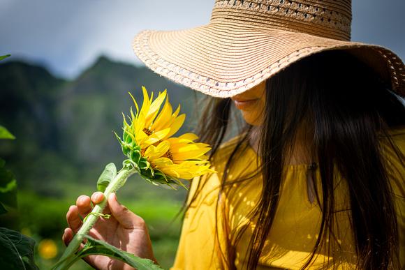 Sunflowers, Oahu, Child Portrait