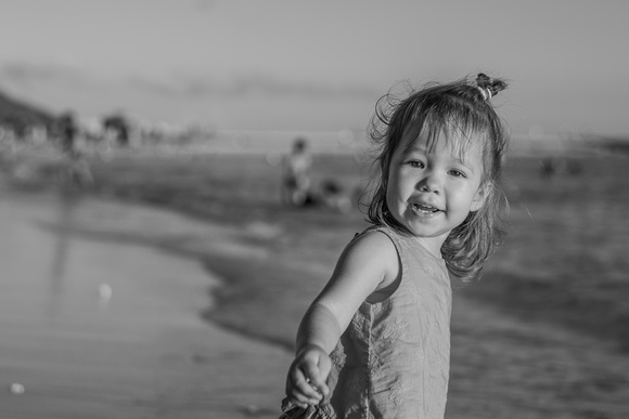 Black and White, Toddlers, Toddler smiles, Ocean, Hawaii family photographer, Oahu family and child photographer