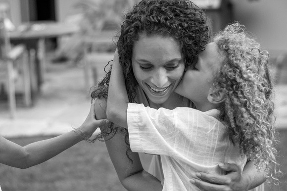 Mothers, Motherhood, Black and White, Curls