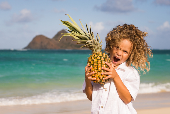 Pineapple, Windy, Kailua family photographer