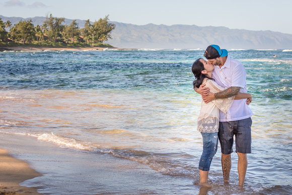 Family Portrait, Oahu, North shore, Hawaii, Beach, Couple